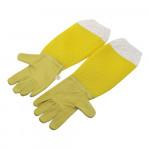 """Перчатки кожаные """"Air-Max""""  с желтой сеткой"""